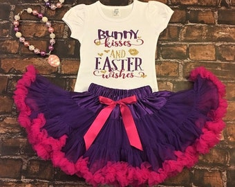 Bunny Kisses and Easter Wishes, Girls Easter Outfit, Easter Skirt, Easter egg outfit, Girls Easter Dress, Girls Easter shirt, Girls Easter