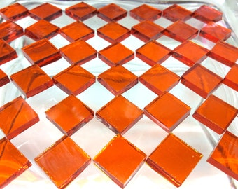 """100 1/4"""" BRIGHT ORANGE WATERGLASS Stained Glass Mosaic Tiny Tiles Transparent T2"""