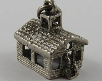 School House With Teacher and Student Outside Sterling Silver Vintage Charm For Bracelet
