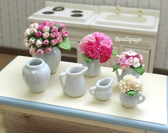 Miniature Flower Vase / Water Jar, 1/12 scale ~ 1/6 scale Dollhouse Diorama DIY Craft Jewelry Charms