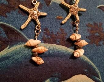 Starfish Seashell Earrings