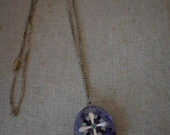 Blueberry Quartz Cross Pendant Necklace