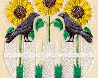 Summertime Fence Sunflower Trio Embroidered Flour Sack Hand/Dish Towel