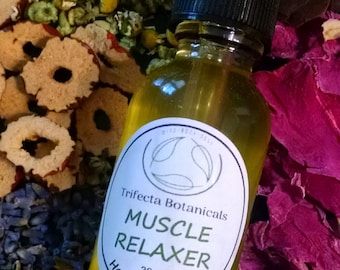 Muscle Pain Relief Infused Herbal Body Oil 'Muscle Relaxer'  Aromatherapy Massage Bath * Eucalyptus * Chamomile * Wintergreen * Osmanthus