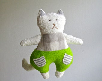 Cat, organic, soft toy, cuddly, plush, plushie, stuffed animal, lime green, white, grey, gray, child, toddler, gift