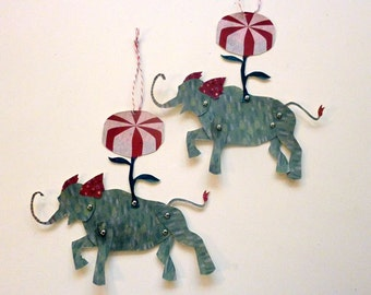 2 Printable Candy Elephant Paper Puppet Dolls for Gift Tags, Garland, Paper Crafts Red, Green
