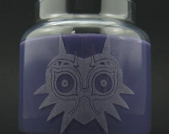 Legend of Zelda Majora's Mask Laser Etched Container Candle with Cork Lid