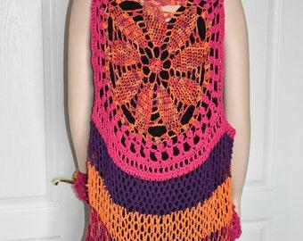 Mandala Vest, Mandala Circle Vest, Crochet Mandala Vest, Circular Vest, Lotus Vest, Crochet Circle Vest, Boho Mandala Vest, Circle Vest