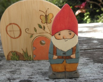 Wood Toy- Daddy Gnome Child On Back-Fathers Day-Surprise Story Dice-Waldorf Inspired