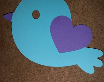 Set of 10  birds with heart wings