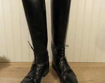 Black leather riding boots- very nice condition- horseback riding boots, women's size 9