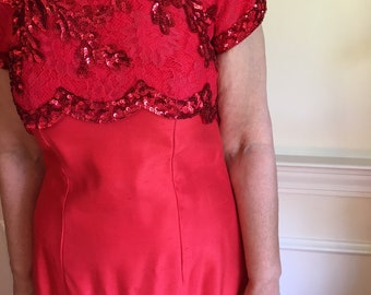 Red 60s Sequins and Lace Shantung Betty Draper Dress (Sz 6/8)