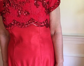 Sz 6/8 Red 60s Sequins and Lace Shantung Betty Draper Dress
