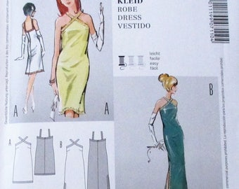 Burda Pattern, Burda7110, misses fitted halter top dress, short and long dress, sz: 8, 10, 12, 14, 16, 18