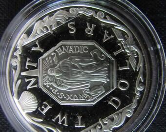 Vintage British Sterling Silver Virgin Island 1980's Commemorative Twenty Dollar Proof Coin - Saint