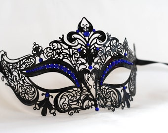Black masquerade mask, Laser cut metal masqurade mask with royal blue gems, Prom masquerade ball party