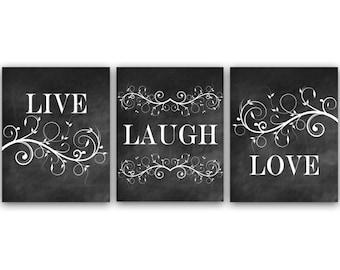 Bedroom Art, Live Laugh Love, Bedroom Wall Art, Printable Chalkboard Art, Bathroom Decor, Instant Download - HOME23