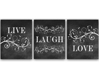 Bedroom Art, Live Laugh Love, Bedroom Wall Art, Printable Chalkboard Art,  Bathroom