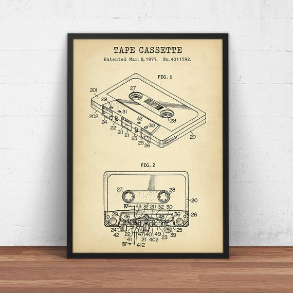Tape cassette patent print art digital download music wall te gusta este artculo malvernweather Choice Image