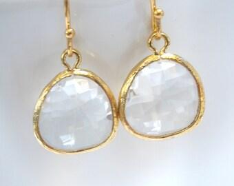 White Earrings, Crystal Glass Earrings, Crystal Earrings Gold Clear Earrings, Bridesmaid Earrings, Bridal Earrings Jewelry, Bridesmaid Gift