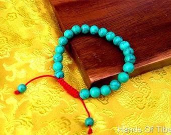 Turquoise Wrist Mala/Bracelet for Meditation (8mm beads)