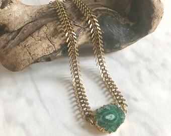 CALYPSO - collier ras de cou - collier chaine - collier pierre, gemmes, quartz - collier choker - vert - pierre semi-précieuses - gypsy