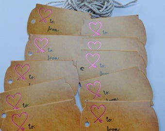 wood 10 tag with string print paper gift tag