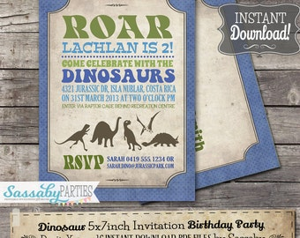 Dinosaur Party Invitation - INSTANT DOWNLOAD - Partially Editable & Printable Birthday Invitation by Sassaby Parties