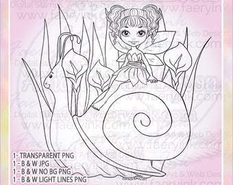 Snail Fairy Faery Fae Lily Lillies UNCOLORED Line Art Digital Stamp Coloring Page Craft Cardmaking Papercrafting DIY