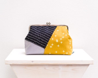 Geometric Handbag, Colorblock Clutch Purse, Metal Frame Clutch Bag, Modern Bag, Kisslock Clasp Purse, Minimal Evening Clutch, Gifts for her