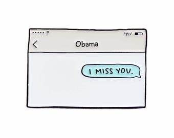 Barack Obama text message enamel lapel pin