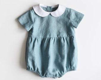 Linen Baby Romper, Linen Baby Onesie, Peter Pan Collar, Baby Romper, Baby Sunsuit, Linen Jumper, Linen Baby, Girl Clothes, Blue Egg Linen