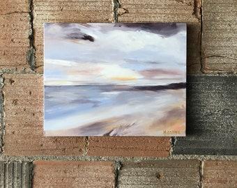"ORIGINAL acrylic abstract, 16x20"" pastel beach sunset"