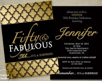 Fifty and Fabulous Surprise 50th Birthday Party Invitation Gold Black Quatrefoil Formal Double Sided 5x7 Printable Party Invite JPEG file