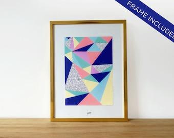 Affiche graphique encadrée, cadre doré 25 cm x 19 cm + affiche décorative avec motifs géométriques colorés, déco pour la maison, idée cadeau