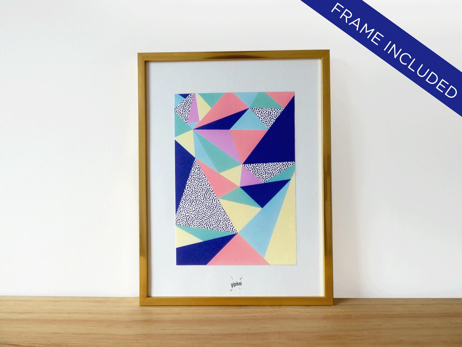Grafischen Poster gerahmt Rahmen Golden 25 cm x 19 cm