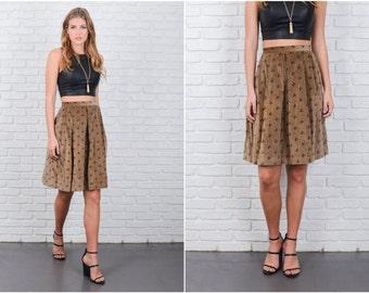 Vintage 80s Velvet Skirt Pleated A Line High Waist Medium M Floral Print 6302 vintage skirt 80s skirt velvet skirt medium skirt floral skirt