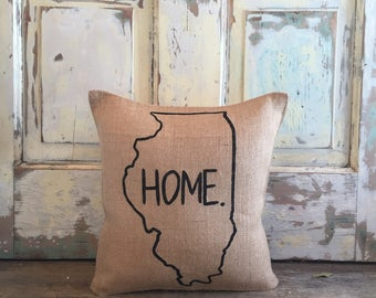 Pillow Cover | Choose Your State | State Pillow | Home pillow | Burlap pillow | Gift for him | Graduation | Housewarming, Moving Gift