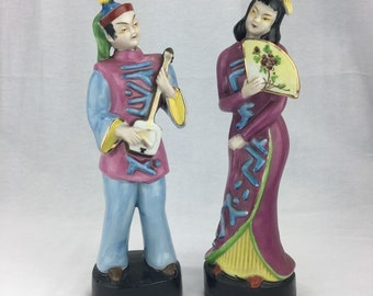 """Occupied Japan Figurines Asian Man Woman Orion China 12"""" Set Of 2"""