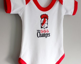 David Bowie Inspired Endless Ch-Ch-Ch Changes Bodysuit Babygrow Vest