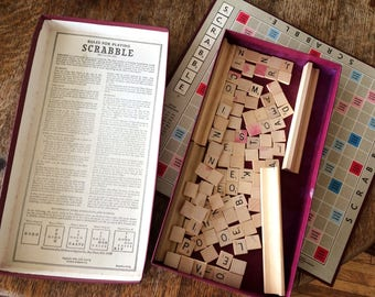 Vintage 1953 Scrabble Word Board Game Classic Family Fun Retro Board Game Family Fun Night Vintage Toys