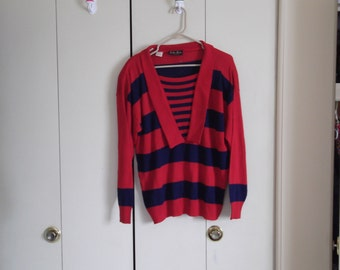 vintage 1980s sweater red blue striped v-neck large XL made in italy