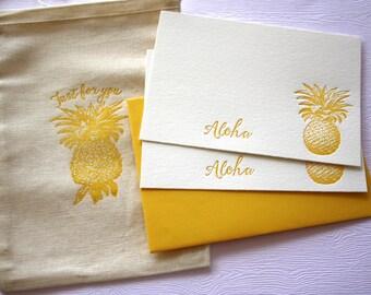 Sunny Gold Pineapple Letterpress Stationery Aloha Mahalo with Cotton Muslin Sack