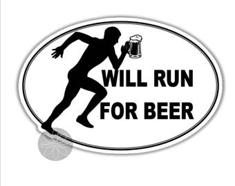 will run for beer male runner athlete funny vinyl bumper sticker 120 x 85 mm  approx ( 4.8 x 3.4 inches)