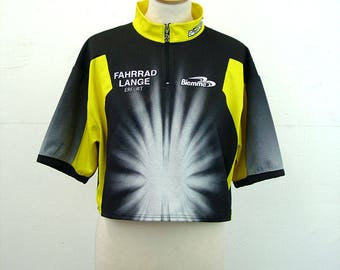 Cropped cycling shirt starburst black yellow jersey oversized belly top street style size M 12 14