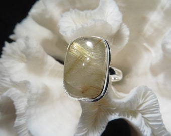 Golden Rutile Agate Ring Size 13.75