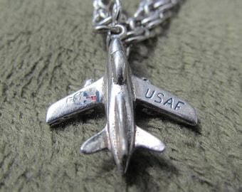 """Vintage 1960's 7"""" Sterling Silver USAF Charm Bracelet, Air Force Fighter Jet"""