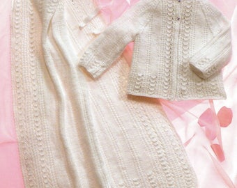 4Ply Sirdar Knitting Pattern for Matinee Jacket, Bonnet and Shawl