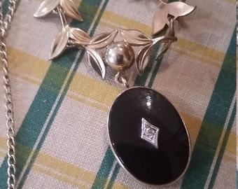 Antique Black Onyx Diamond Necklace