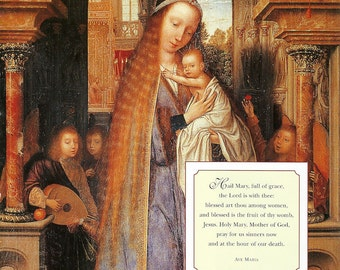 Religious Art Ave Maria - Virgin Mary and Infant Jesus Madonna Print to Frame or for Collage and Paper Arts PSS 2773